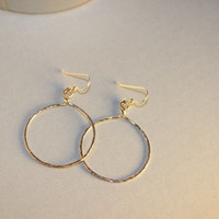 Medium Hammered Oxidized Sterling Silver Hoop Earrings Valentine's Day