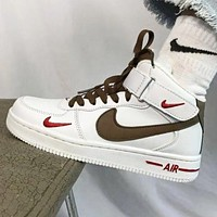NIKE Air Force 1 New fashion hook sports leisure high top couple shoes White