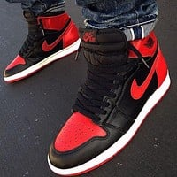 NIKE Air jordan 1 high-top men's and women's color matching sneakers casual shoes Red