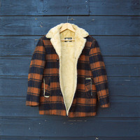 70's Plaid Wool Coat XS SMALL Black + Brown Plaid Cruiser Jacket, JEDSONS Faux Fur Lined Winter Coat, Women's Outdoors Camping Wool Coat