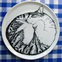 Serving Plate  Cat Sleeping by jimbobart on Etsy