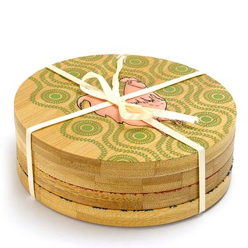 Bamboo Coaster Set with Decorative Farm Animals 4 Piece