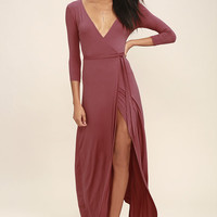 Garden District Rusty Rose Wrap Maxi Dress