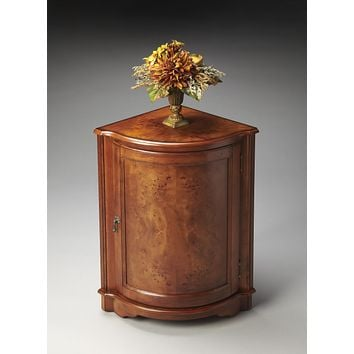Durham Olive Ash Burl Corner Cabinet by Butler Specialty Company 2115101