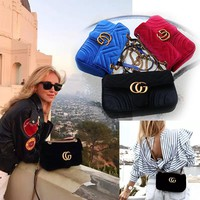 """Gucci"" Women Fashion Velvet Metal Chain Single Shoulder Both Shoulders Messenger Bag Square Bag"