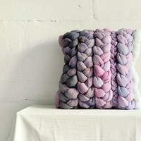"""Pink """"plait"""" pillowcase with yellow spots - dyed, decorative, handmade cushions."""