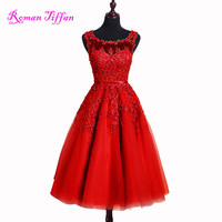 Roman Tiffan Prom Dresses 2016 Hot Sale Style Party Gown O-neck Knee length Appliques Beads Tulle A-line Sleeveless Vestidos