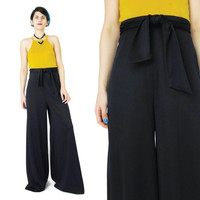 1970s Black Wide Leg Pants Vintage Bell Bottoms Flared Pants High Waisted Pants 70s Palazzo Pants Belted Pants Womens Black Trousers (M)
