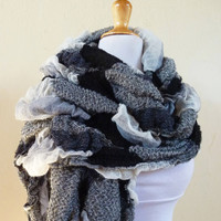 Scarf - BLACK / WHITE Fancy Scarf - Luxury textured long chunky scarf - accessories