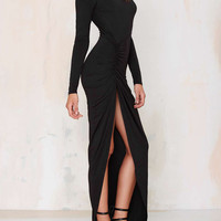 Black Backless Side Split Ruched Long Sleeve Maxi Bodycon Dress
