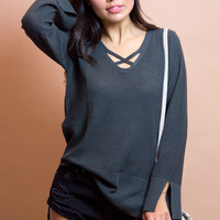 Eviana Cross Front Knit Top - Grey/blue