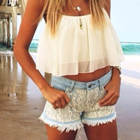 White Chiffon Halter Backless Ruffled Cropped Top