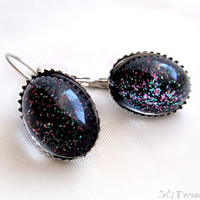 Black glitter earrings, gothic jewelry, gift for her, pastel goth