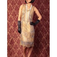"""20s Style Gold Bead Sequin """"Marcelle"""" Fringed Flapper Dress"""
