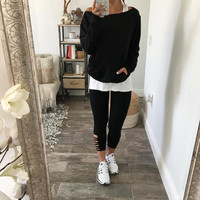 Long Sleeve Sexy Strapless Top Set [9582091983]