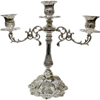 "Ultimate Judaica Silver Plated Candelabra 3 Branch - 12""H"