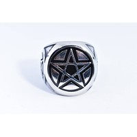 Vintage Gothic Silver Stainless Steel Pentacle Star Mens Ring