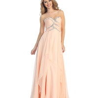2014 Prom Dresses - Peach Chiffon & Sequin Strapless Gown