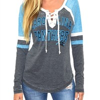 Carolina Panthers Womens Laceup Long Sleeve Top | SportyThreads.com
