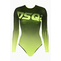 Ombre Dotted Long Sleeve One Piece Swimsuit - Neon Yellow/Black