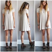 A Beige Bamboo Tee Dress