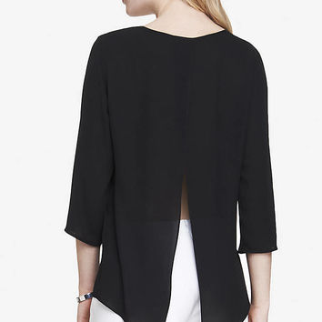 SPLIT BACK CREPE BLOUSE from EXPRESS