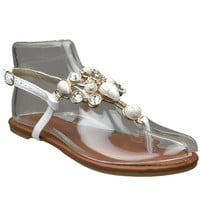 Womens Flat Sandals Marbled Gemstones Accent Casual Dress Shoes White