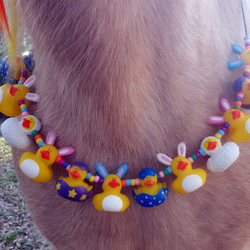 Rabbit Rubber Ducky Equine Necklace for Easter -- Necklace for Minis, Ponies, Riding Horses, or Draft Horses
