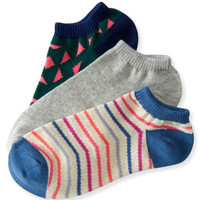 3-Pack Stripe, Solid & Triangle Ankle Socks - Aeropostale