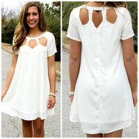 Outside My Window Ivory Cut Out Dress