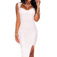 White Sleeveless Cutout  Keyhole Back Bodycon Midi Dress
