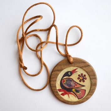 handmade wooden pendant with  flower petals collage