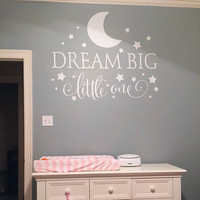 Dream Big Little One Quotes Wall Decal Nursery Wall Sticker Baby Nursery Bedroom Art Decor Kids Wall Sticker Stars Wall Decals