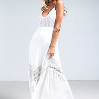 WHITE CROCHET X BACK MAXI DRESS
