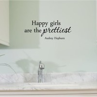 Newsee Decals Happy girls are the prettiest. Audrey Hepburn. Vinyl wall art Inspirational quotes and saying home decor decal sticker