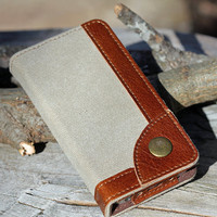 iPhone 5 Wallet, Phone Wallet iPhone 5 Case, Canvas Leather Phone Case, iPhone 5