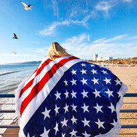 Awesome Red White and Blue USA American Flag Large Round Fringe Towel/Blanket Throw