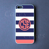 Monogrammed Iphone 5 Case - Blue Pink Strip Monogram Iphone 5 Cover