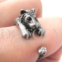 Miniature Tiger Animal Wrap Around Ring in Silver - Sizes 4 to 9 available