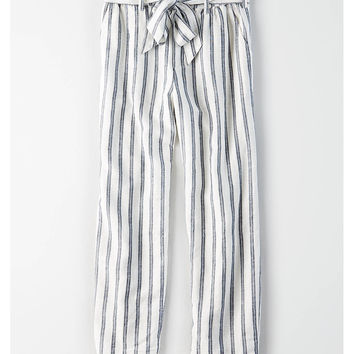 AE High-Waisted Linen Paperbag Pants, Multi