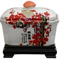 Oriental Furniture Unique Beautiful Gifts for Mom/Mother, 8-Inch Asian Porcelain Tea Jar, Cherry Blo