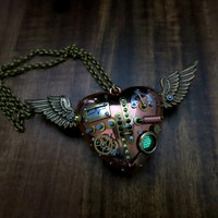 Reserved Do Not Buy, Flying heart necklace, Heart with wings charm, Steam punk necklace, Green Glow in the dark jewelry, Steampunk jewelry