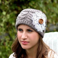 Sale Boho Headband - Knitted , Cable Knit, Charcoal , Gray , Lace Flower, Wood Button, Wide Headband, Cottage Chic, Turban, Christmas Gift