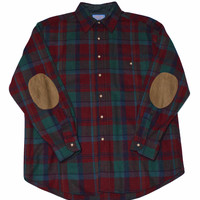 Vintage 90s Pendlton Wool Button Up Shirt with Elbow Patches Made in USA Mens Size Large
