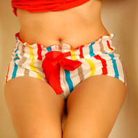 Colorful in bed. Pajamas sleeping shorts (Clothing sleepwear)