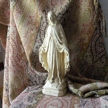 virgin mary statue, French antique, religious statue, Pieraccini virgin mary, french country, home decor, gifts for her, housewarming gift