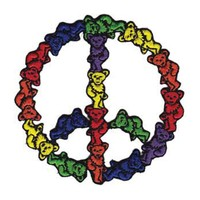 Grateful Dead Men's Bear Peace Sign Embroidered Patch Multi