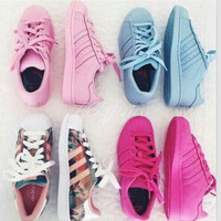 """Adidas"" Fashion Shell-toe Flats Sneakers Sport Shoes Pure color full color"