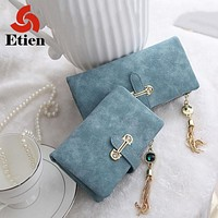 Hot Sale Women's purse 7 Colors Soft Matte Suede zipper tassel pendant women's wallet women purses coin purse credit Card Holder