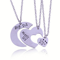 3 Sister Necklace THREE Piece Splice HEART Jigsaw Puzzle Necklace Sets Made of Alloy Best Friends Gift for friends